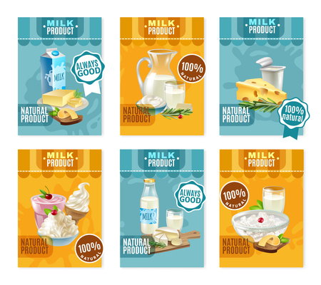 milk products: Dairy products banners set with milk and cheese cartoon isolated vector illustration