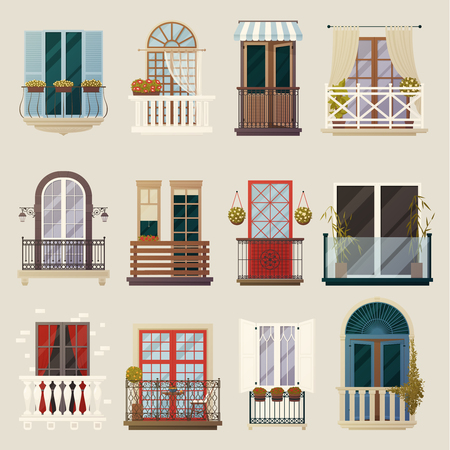 classic house: House exterior design ideas with modern vintage and classic balconies style building facade elements collection vector illustration Illustration