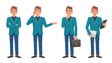fashionably: Set of isolated images of cartoon style man character full length in various poses fashionably dressed vector illustration Illustration