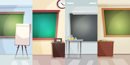 studying classroom: Education vertical banners with school classrooms for different lessons in flat style vector illustration