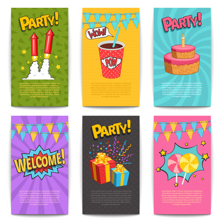 isolated illustartion: Carnival comic posters set with fireworks and presents symbols flat isolated vector illustartion