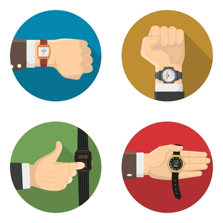 Men watches types 4 flat round icons collection of mechanical smart electronic and classic wristwatches isolated vector illustration