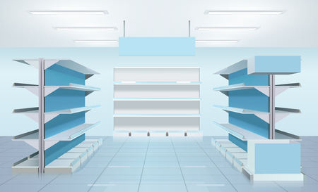 interior spaces: Supermarket design interior composition with three empty rows of shelves and blank product tabloid with reflections vector illustration