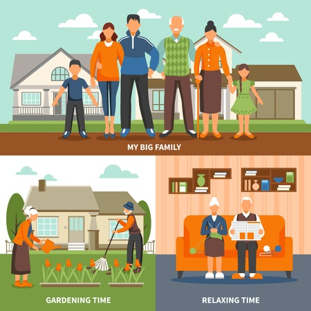 relationships human: Old people design concept with family faceless characters compositions set indoor relaxing and outdoor gardening activities vector illustration