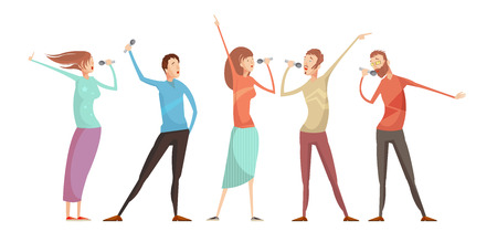 Set of five isolated male and female young people characters gesticulating and singing karaoke party songs vector illustration Ilustração