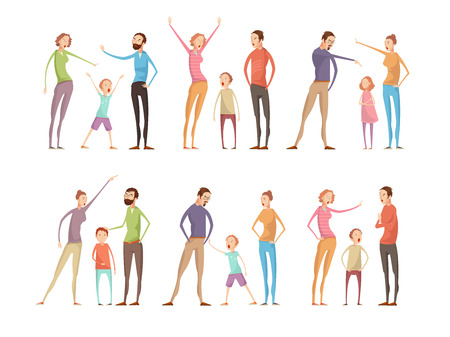 anger kid: Adults abuse children compositions set with isolated parents and teenagers full length characters having family argument vector illustration