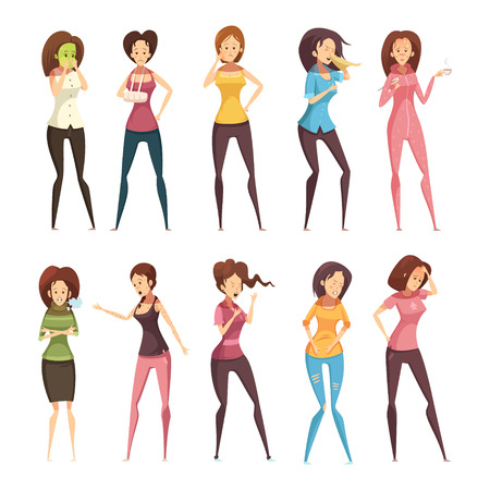 lumbago: Colored and isolated sickness woman retro cartoon icon set with different women vector illustration