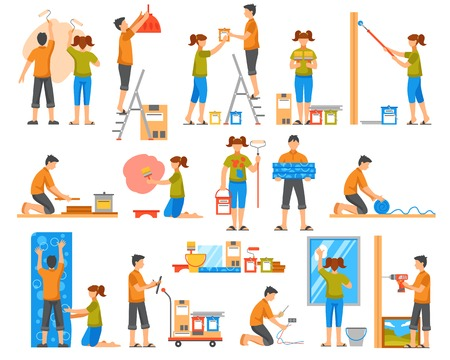 bonding: Home renovation flat colored decorative icons set with family members bonding wallpaper coloring wall washing windows isolated vector illustration Illustration