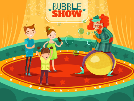 onstage: Travel circus clown bubble show performance with kids on  arena retro cartoon style poster vector illustration