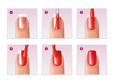 Realistic set of steps of nail polishing process for beautiful manicure isolated on white background vector illustration