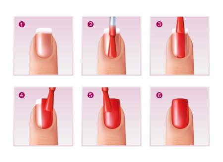 Realistische reeks stappen van spijker oppoetsend proces voor mooie die manicure op witte vectorillustratie wordt geïsoleerd als achtergrond