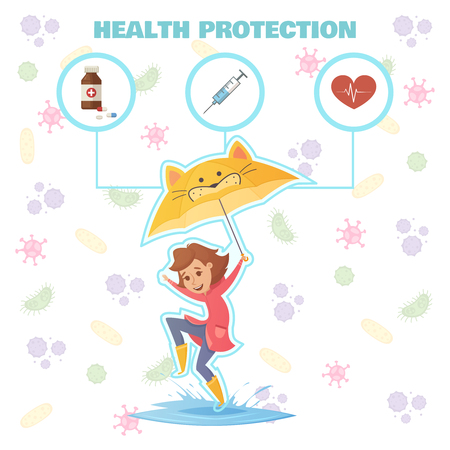Health protection design concept with little girl with umbrella jumping through puddles and healthcare icons flat vector illustration