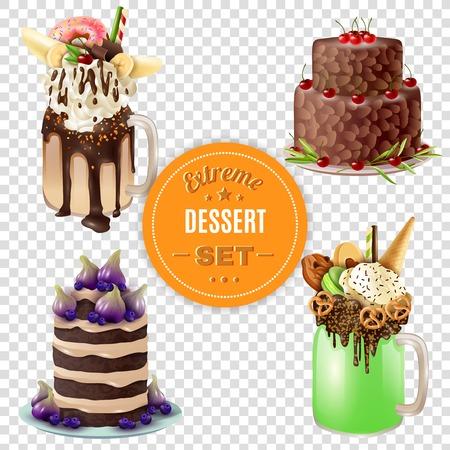 sherbet: Super sweet and rich 4 festive combo extreme desserts set with freakshake on transparent background vector illustration
