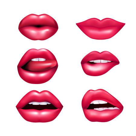 Beautiful plush female lips expressing different emotions mimic set isolated on white background realisic vector illustration