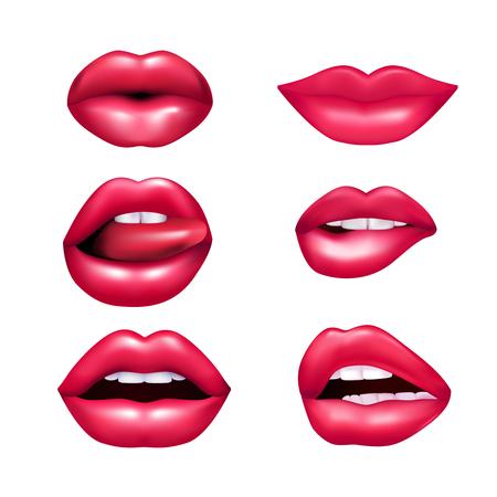 Mooie pluche vrouwelijke lippen die verschillende emoties mimic set uitdrukken geïsoleerd op witte achtergrond realisic vector illustratie
