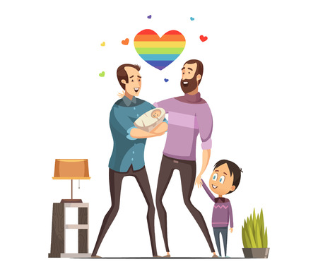 Happy loving same-sex gay couple with newborn baby and little son at home retro cartoon vector illustration Illustration