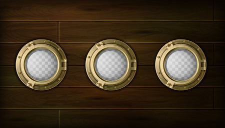 Ship golden  portholes cartoon set with wooden sides vector illustration Çizim