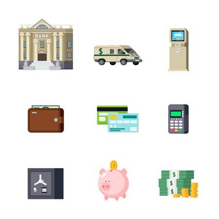 house exchange: Set of banking orthogonal elements including building and transport savings and cash computer technologies isolated vector illustration Illustration
