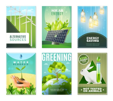 ecosystems: Alternative green energy sources environment protection and ban tests on animals 6 mini ecological banners isolated vector illustration