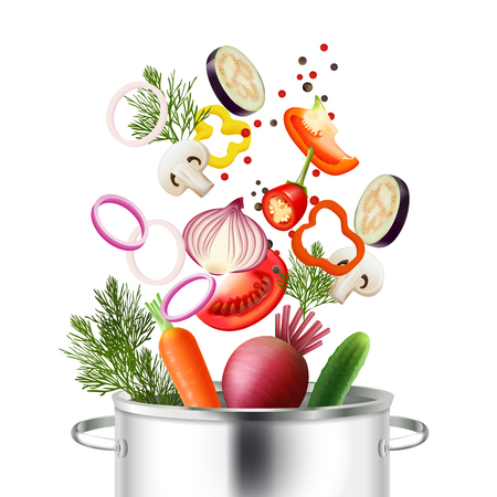 Vegetables and pot realistic concept with ingredients and cooking symbols vector illustration Illustration