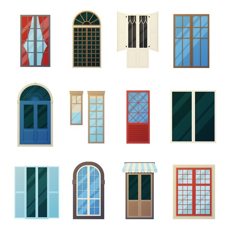 facade: Muntin wood and metal bars window panels flat icons set with round and rectangular elements isolated vector illustration Illustration