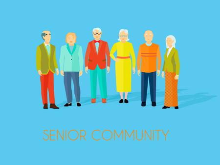 Senior centro de la comunidad las personas mayores lugar de reunión para disfrutar de actividades sociales juntos plana azul fondo poster ilustración vectorial Ilustración de vector