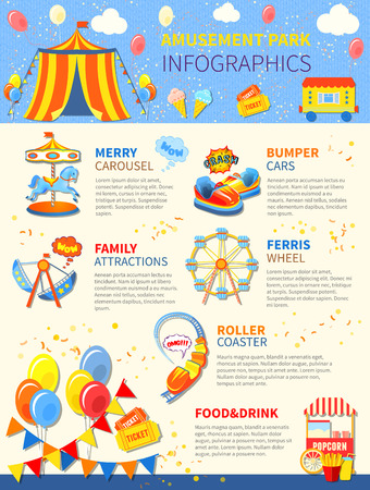Amusement park infographics layout with carousel and attractions vector illustration