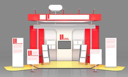 3D Ausstellung Stand Zusammensetzung mit Werbebroschüren Werbung Banner mit Text und Schwarzes Brett Stand Design Vektor-Illustration Vektorgrafik