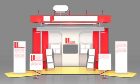 3D exhibit booth composition with promo leaflets advertising banners with text and notice board stand design vector illustration