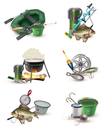 sinker: Fishing sport tackle gear and accessories 6 icons collection with inflatable boat and spring balance isolated vector illustration Illustration