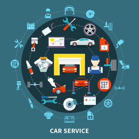 centering: Auto service design concept with spares and  mechanic tools for diagnostics and maintenance decorative icons set flat vector illustration