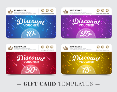 Gift card templates with stripe for brand name discount on background of falling stars isolated vector illustration Zdjęcie Seryjne - 72168064