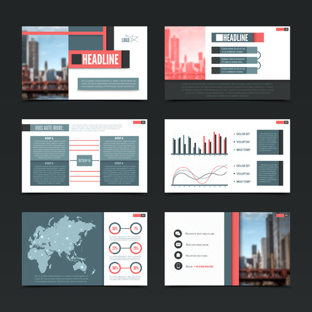 presentation screen: Presentation horizontal screen templates set with modern urban style colorful infographics maps pictograms with editable text vector illustration Illustration