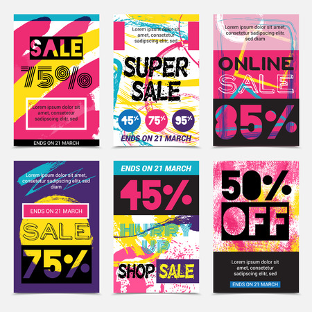textured: Set of bright posters with online sale and discounts on textured colorful backgrounds isolated vector illustration