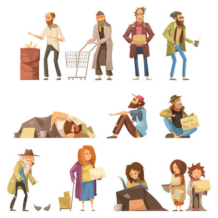 homelessness: Set of homeless people including adults and kids begging money and needing help isolated vector illustration