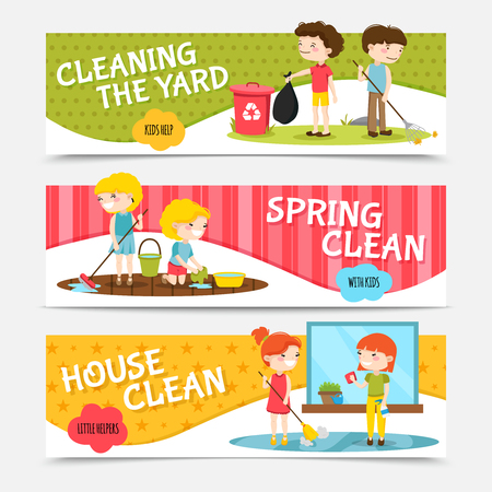 order: Colorful horizontal banners set with kids cleaning house and yard cartoon isolated vector illustration Illustration