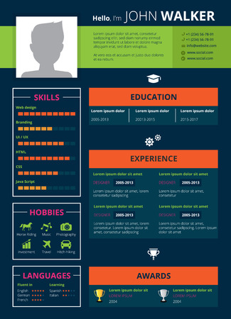 Resume page design with skills hobbies and education symbols flat vector illustration