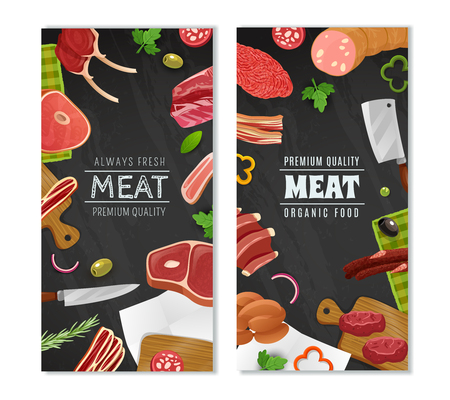 sale sticker: Meat market vertical cartoon banners set with food symbols isolated vector illustration Illustration