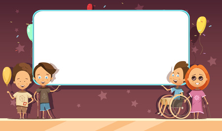 retro dark: Disabled kids with white blank banner on dark background with decoration cartoon and retro design vector illustration