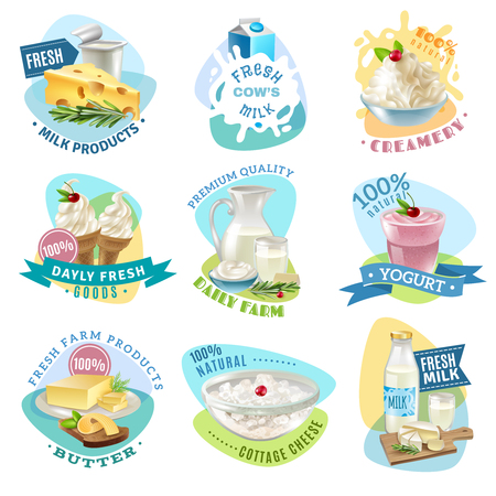 Milk products emblems set with butter and cream cartoon isolated vector illustration Illustration