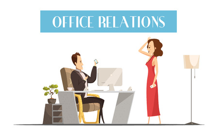attractive woman: Office relations cartoon style design with attractive woman in red dress in room of boss vector illustration