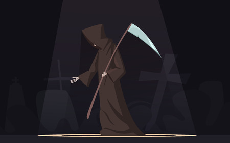 phobia: Death with scythe traditional black-hooded grim reaper symbolic figure in spotlight dark background poster cartoon vector illustration
