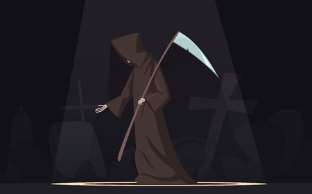 mortality: Death with scythe traditional black-hooded grim reaper symbolic figure in spotlight dark background poster cartoon vector illustration
