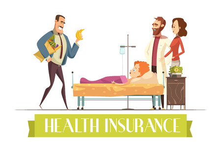 surgery expenses: Health insurance police payment plan covers child treatment and food cartoon illustration with happy  visiting parents vector