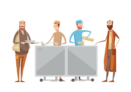 Volunteering composition with flat characters of volunteers in uniform dispensing drinks and food to rough sleepers vector illustration Illustration
