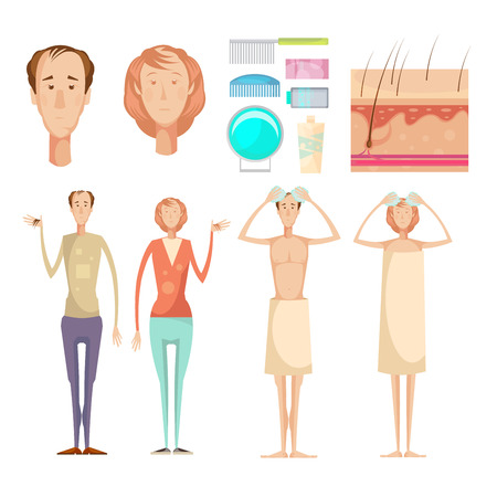Hair loss problem isolated infographic elements set with full length male and female characters skin care vector illustration