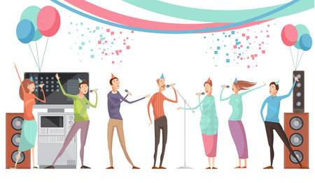contest: Karaoke party concept with group of friends singing flat vector illustration