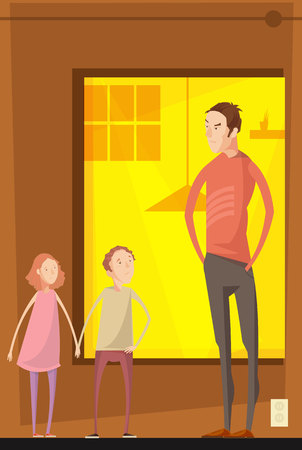 Adults abuse children indoor composition with flat characters of teenager siblings having quarrel with their father vector illustration