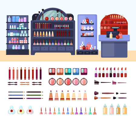 beauty icon: Colored health and beauty store composition with isolated beauty and makeup icon set and shelves with products vector illustration