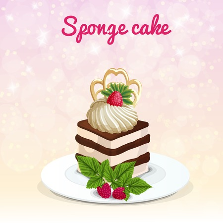 sponge cake: Piece of sponge cake on white plate with meringue decorated raspberry on sparkling light background vector illustration